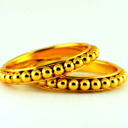 gold platted moti bangle kara size-2.4,2.6,2.8