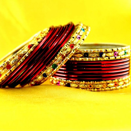 multi coulour brass rajasthani bangle size-2.6,2.8