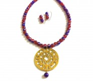 Red & Purple Tibetan Necklace with Earrings