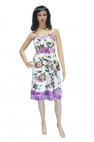 Cotton frock midi with skiny straps