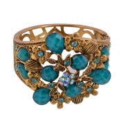 Gold-plated Torquoise beads studded bracelet