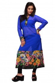 rainbow and the midnight blue backdrop Kurti
