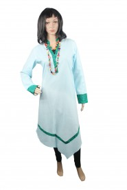 Cotton kurti with printed collar neck