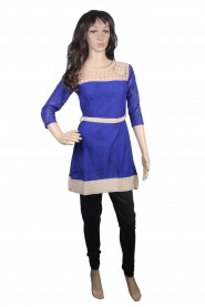 Blue kurti with designer neck
