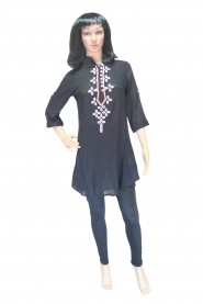 Simple cotton kurti with embroidered neck