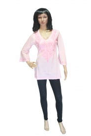 Pink cotton kurti with pretty look