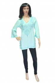 Turquoise colour cotton kurti with pretty look