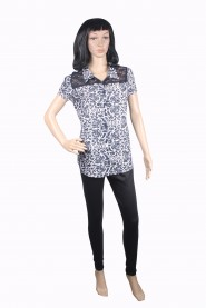 Black printed cotton kurti with 3-4th sleeves