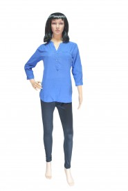 Royal blue kurti with balloon-shaped 3-4th sleeves