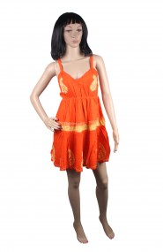 Orange frock midi, Embroidered with V-shaped neck