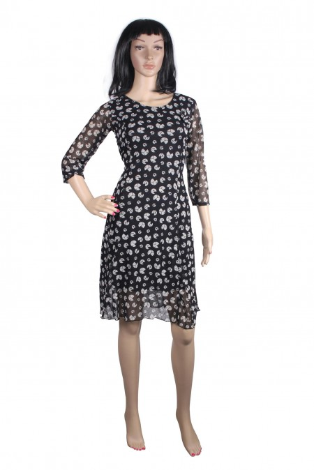 Stylish frock with 3-4 sleeves Printed black Frock