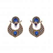 Pearl polki earrings with blue stones