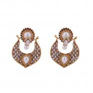 Polki earrings studded with white pearls