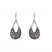 Silver-tone hanging earrings with black finishing