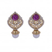 Fancy gold-plated earrings with hanging pearl