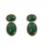 Green beaded earrings in golden finishing