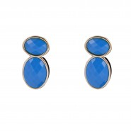 Blue beaded earrings in golden finishing