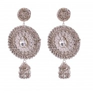 Silver-tone earrings embedded with sparkling stones