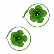 Green round-shape earrings with a green rose