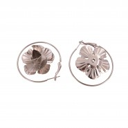 Silver-tone round-shape earrings with hanging rose
