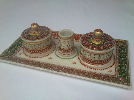 Marble Tray Set ( 2 container , 1 Toothpick ) - Soft Tray