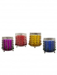 Persian Nights Steel Color Glass Votive Glass 4 - Cup Tealight Holder Set
