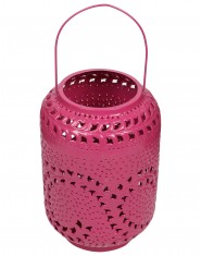 Decorative candle holder Pink Metal Lantern