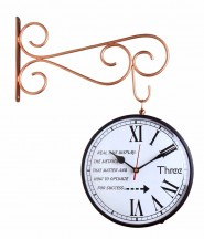 Double Sided Railway Station,Platform Analog Wall Clock(Copper)