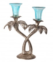 Khajoor/Palm Tree Aluminium 2 - Cup Candle Holder Set(Silver, Pack of 1
