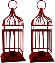 Sutra Decor Iron Red Cage Cup Tealight Holder Set 2