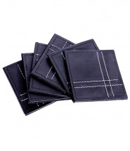 Leather Coaster Set of 6 Black