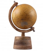 Mustard World Globe With Wooden Stand