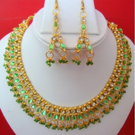 Beads necklace with matching earring set