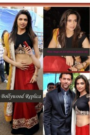Red And Black Deepika Padukone Georgette Lehenga Choli