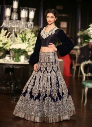Deepika Padukone Blue Lehenga In Manish Malhotra At Delhi Couture