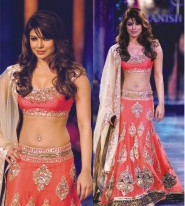 Priyanka Chopra Orange/Peach Crepe Silk Designer Lehenga Choli at Mijwan