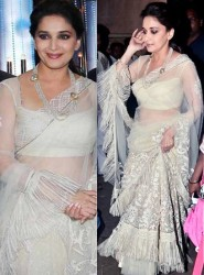 White Lehenga Choli In Madhuri Dixit At Jhalak Dikhhla Jaa