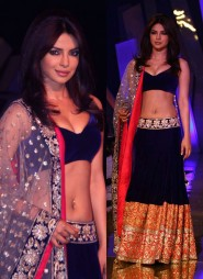 Priyanka Chopra People's Award Blue Velvet Lehenga choli