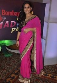 Bollywood actress Vidya Balan in pink Georgette designer saree