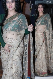 Kajol Looks in White & Green Saree At Jagjit-Singh Birthday Party