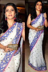 Bollywood Replica Kajol White-Net & Blue Border Saree