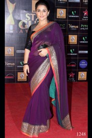 Vidya Balan Wine Pink Saree At Renault Star Guild Awards 2013