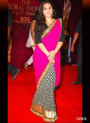 VIDYA BALAN STYLE PINK SAREE AT BALAJI AWARDS