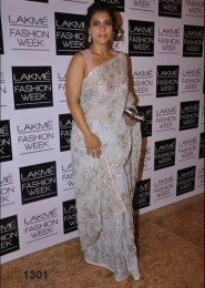 Bollywood Actress Kajol Sky Blue Saree At Lakme Fashion Week