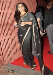 Bollywood Replica Vidya Balan Black And Gray Georgette Saree