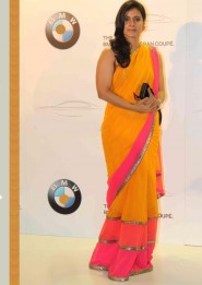 Kajol Yellow Georgette Saree At BMW 6