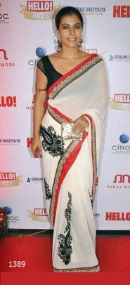 Kajol In Designer Off White Saree