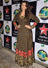 Daisy Shah In Black Beautiful Anarkali At Sets Of Nach Baliye 6