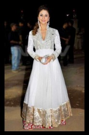 Urmila Matondkar Beautiful White Anarkali Suits