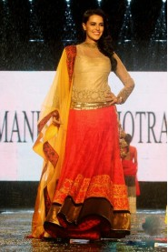 Neha Dhupia In Beautiful Orange And Yellow Velvet Lehenga